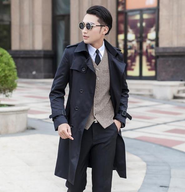 Primavera designer de preto azul bege double breasted longo casaco de trincheira homens slim fit roupas de homem nova chegada de médio-longo plus size 9XL
