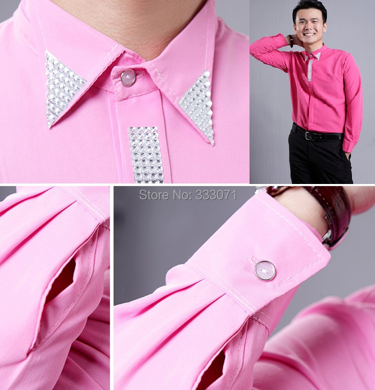 2015 New Pink / Hot Pink Rhinestone Long sleeved Men Shirt Wedding ...
