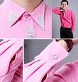 2015 nuevo color de rosa / color de rosa caliente Rhinestone hombres camisa de manga larga de la boda / baile camisas novio del desgaste del novio del partido del hombre camisa ( 39-44 )
