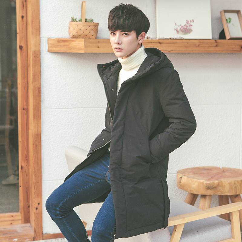 The new winter hooded long Down Jacket Mens Casual coat thickened Korean cultivating literary young male