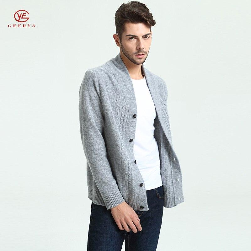 Geerya Men New Winter Cashmere Cardigan Male Sweater Slim Mandarin Collar Warm Jacket Cardigan Casual Style Brand Coat