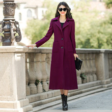 2016 Autumn and Winter Fashion Elegant Wool Coat Plus Size Single Breasted Female Outwear S-4XL Plus Size Women's Slim Outwear