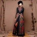 Europea delle Donne Top della Moda di New Primavera Maxi Vestito Lungo di Stile Russo Nappe Patchwork Stampato Vintage Plus Size Abiti