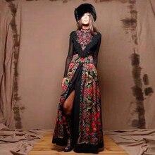 European Women's Top Fashion New Spring Maxi Long Dress Russian Style Tassels Pa