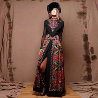 European Women's Top Fashion New Spring Maxi Long Dress Russian Style Tassels Patchwork Printed Vintage Plus Size Dresses