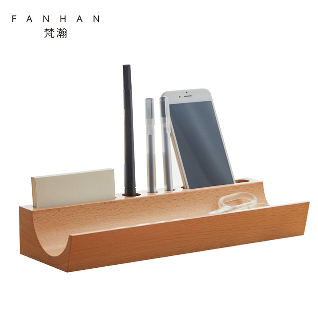 FANHAN Wooden Office Desk Organizer Home Desktop Stationery Organizers Pen  Storage Organization Box Phone Stands Pencil