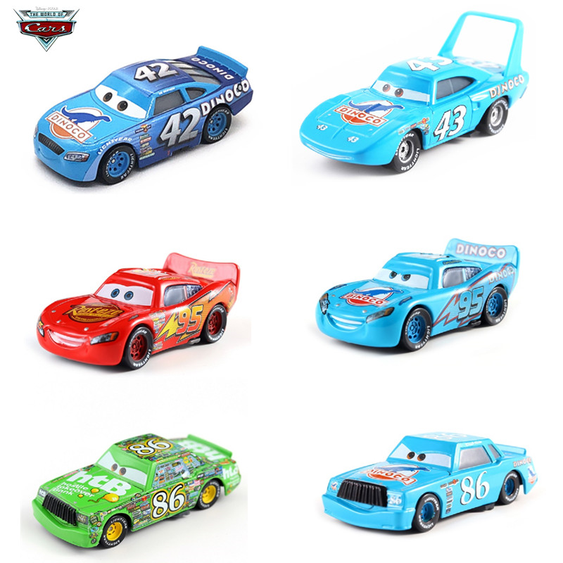 Cars Disney Pixar Cars 3 DINOCO Lightning McQueen Mater Jackson Storm Sheriff  1:55 Diecast Metal Model Toy Car Gift For Kids