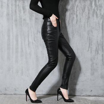 Women's Sheepskin Leather Pants Autumn Winter Slim Pants OL Pencil Pants Ladies Black Mid-rise skinny Sheepskin Leather Pants фото