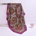Nueva Moda de Invierno Bufandas Mujeres Wraps Mantón de La Bufanda de Seda de la Marca de Lujo Diseñador Femme mujeres Bufanda Bandana Hijab 120*120 cm Robó