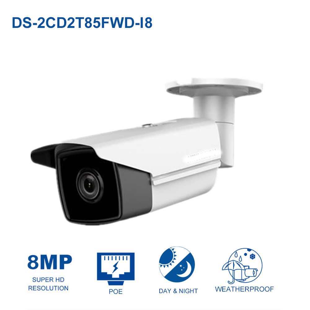 Hik Original CCTV IP Camera DS-2CD2T85FWD-I5/I8 8MP Real time Video IR Bullet Camera Network PoE 80m IR Range original english ds 2cd2432f iw hik 3mp ir cube ip network microphone wireless camera poe wi fi pir detection