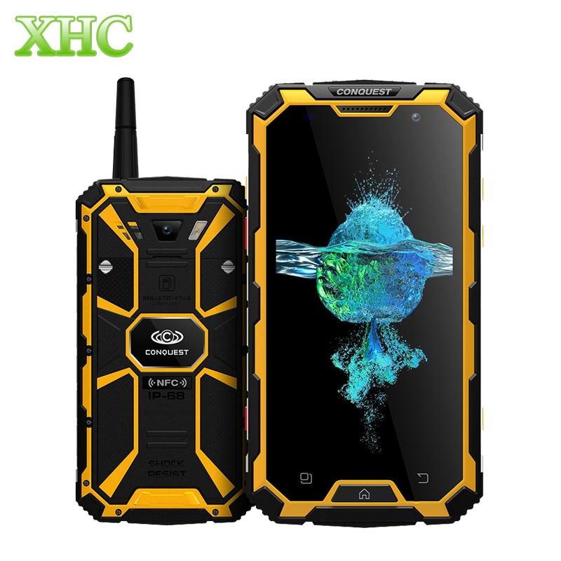 4G conquête S8 IP68 étanche antichoc PTT Smartphones 5.0 ''6000 mAh GPS NFC 3 GB RAM 32 GB ROM double SIM 16MP 8MP téléphones mobiles