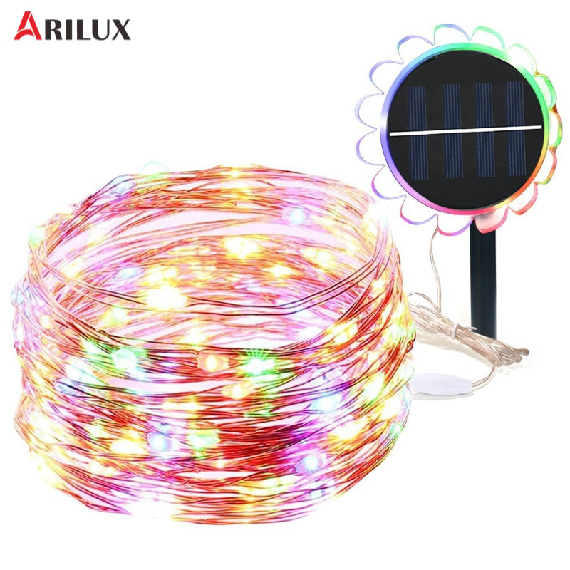 ARILUX 10M Super Bright 100 Leds Light String DC 2V Solar 8 Modes Waterproof Holiday Lights Decorative Lamp For Party Wedding