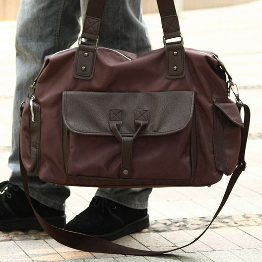 Men's vintage canvas bag traveling bag fashion leather shoulder ...