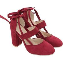 Spring Fashion High Heel Women Pumps Summer Shoes Round Toe Lace up Square Heel Female Ladies Footwear Women Shoes DC10