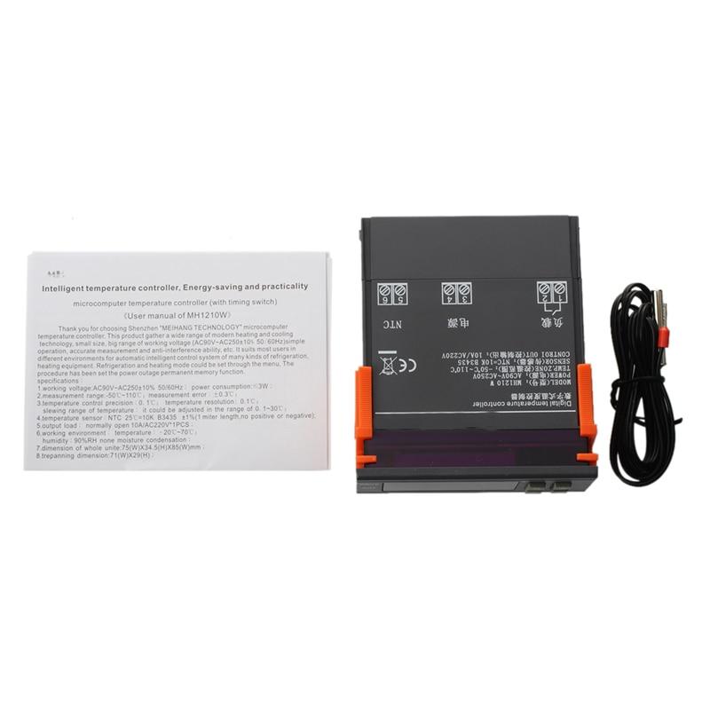 MH1210W AC90-250V Digital Temperature Thermostat Regulator Controller -50~110 C Heating Cooling Control NTC Sensor