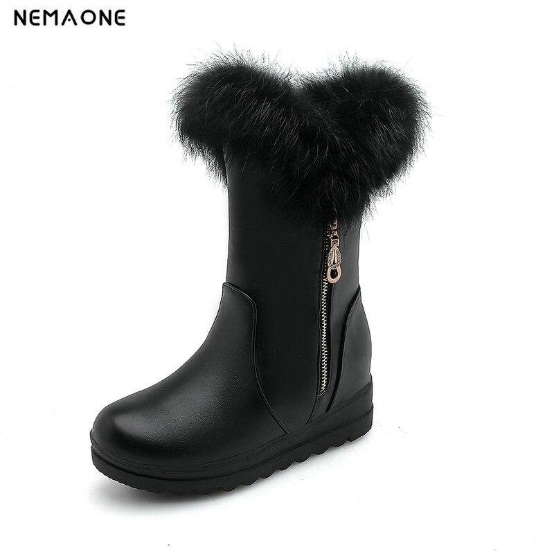 100% QualitäT Nemaone Frauen Schuhe Neue Stil 2018 Mode Winter Stiefel Warme Schnee Stiefel Niedrigen Keile Heels Grils Schuhe