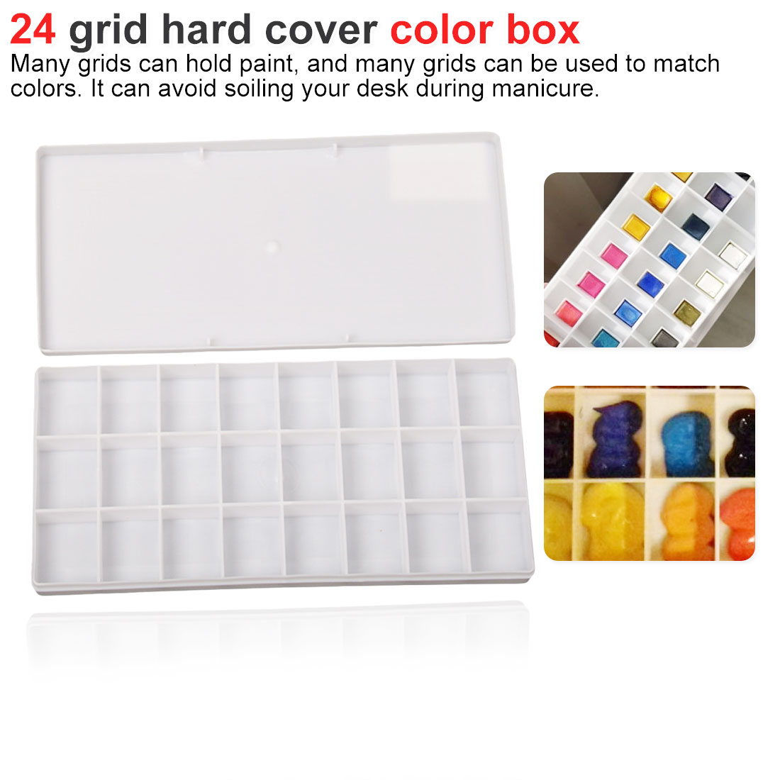 24 Grid Rectangle Palette Folding Painting Watercolor Art Tool Art Palette Flip Lid Paint Box