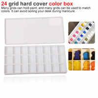 24 Grid rectangle palette folding painting watercolor art tool art palette flip lid paint box