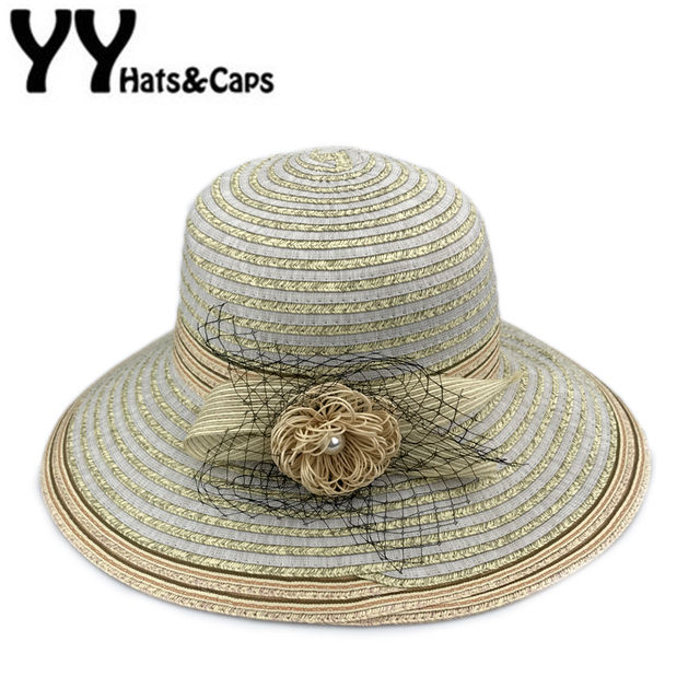 c69a941310d Elegant Church Hat Women Summer Flower Foldable Brimmed Sun Hat Beach Hats  for Women UV Protection Straw Hat Chapeu Praia YY7091