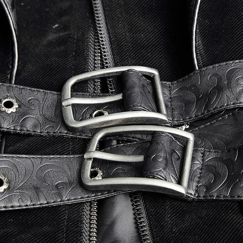 Hommes À Manteaux Manteau Veste Cuir Y Zip 636 Épaule Fête Tranchée Noël Ceintures Black En Punk Sertir Gothique De Noir Rave Longue doublé Halloween OaxXtvC