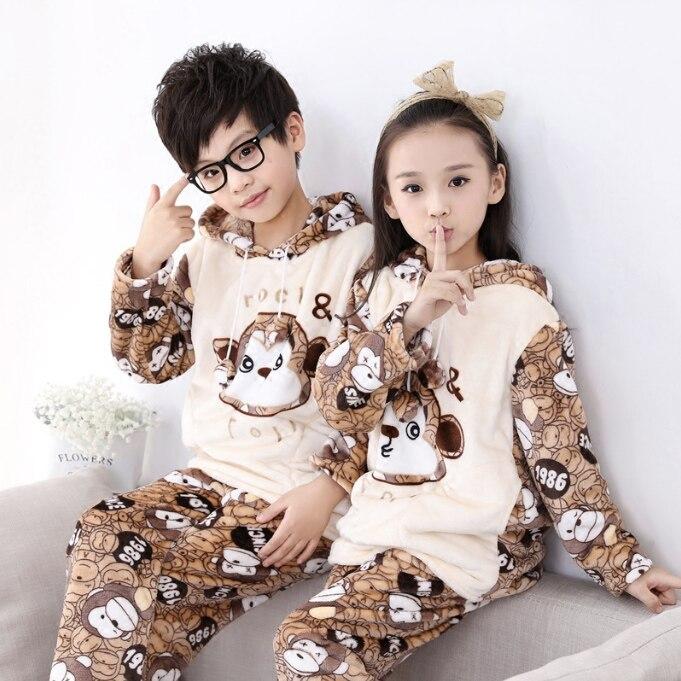 Зимние Обувь для девочек с капюшоном пижамы Весна Обувь для мальчиков Дети Ночные рубашки для девочек Дети ночное белье для Обувь для девоч...