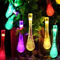 Crystal Water Drop Solar powered 5M 20LEDS Waterproof Holidays Fairy String Lights for Outdoor Xmas Party Garden Decor