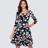 Women Vintage Retro All Over Floral Print Spring Autumn Party Dress Casual Pin Up Office Sheath