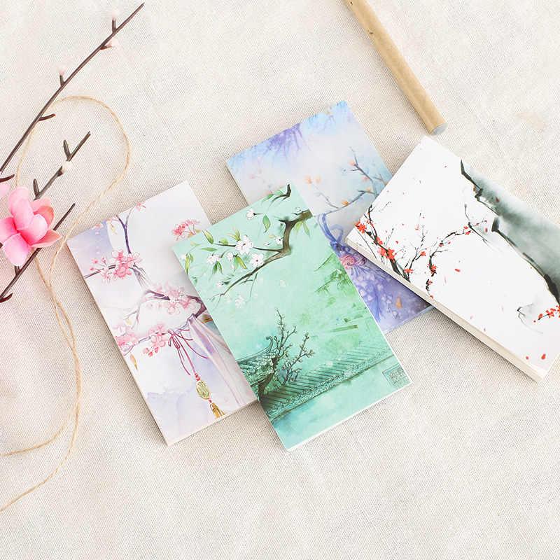 Блокнот в китайском стиле с милыми слезящимися липкими нотами, мини дневник, записная книжка, школьные офисные принадлежности, Escolar Papelaria