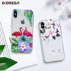 EKONEDA Capa de Silicone Para o iphone 7 7 Plus 6 6 6 S Plus 5 5S SE Caso Capa TPU Macio flor Folhas Pássaro Para iPhone 8 Plus X XS 6 S Max