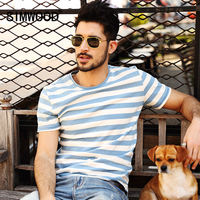 SIMWOOD 2016 New Men T Shirt Fashion O Neck Short Sleeved Slim Fit Blue Striped T