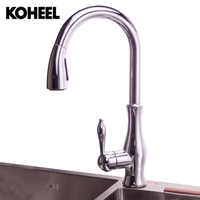 Kitchen Sink Faucet Pull Down&up Nickle Brush Chrome Finish Double Sprayer 360 Degree Hot&Cold Water Tap Mixer