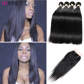 Malaysia Virgin Human Hair Straight With Closure 3/4 Bundles HCDIVA Straight Hair With Middle Free Three Part Lace Closures