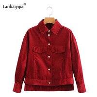 Lanbaiyijia новые вельветовые короткие пальто Для женщин отложной воротник однобортный украшения одноцветное верхняя одежда на осень Для женщи