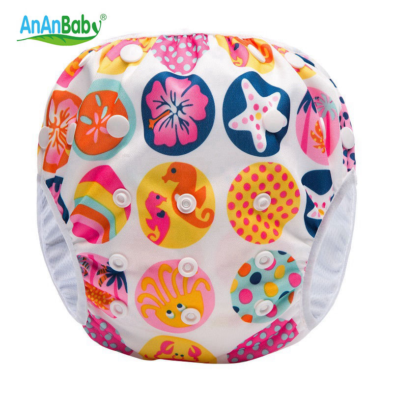 Ananbaby Baby Swim Diapers Adjustable Washable Nappies Pool Pant Swim Waterproof Cloth Diaper Cover for baby 3 - 15kg HA041S