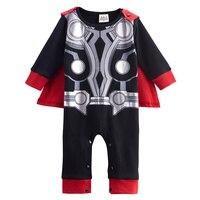 בני תינוק פעוט תחפושת Thor מצחיק Bebe יילוד Cos בגדי ילד תינוק סרבל Romper עם גלימה