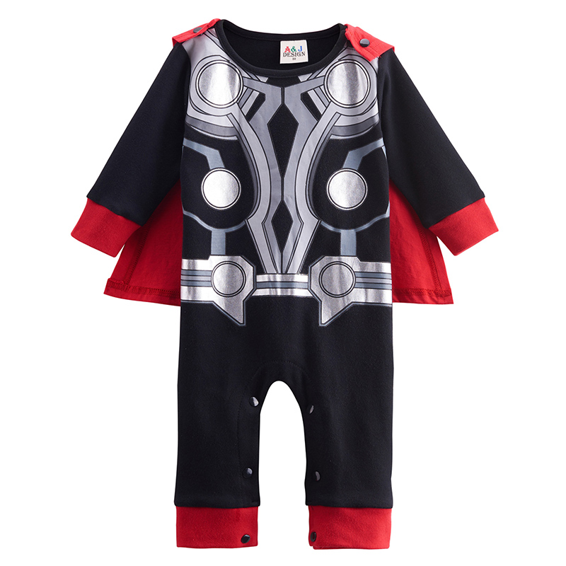 Baby Boys Thor Funny Costume Toddler Romper with Cape Bebe Newborn Cos Jumpsuit Infant Boy Clothing blue baby boys shoes first walker summer winnie newborn soft sole canvas infant toddler bebe sapatos 11 13cm 164