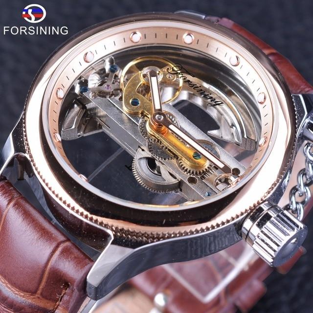 Forsining Rose Gold Bezel Brown Sabuk Penuh Transparan Mewah Klasik Retro  Pria Automatic Skeleton Jam Tangan 8f8d7757fc
