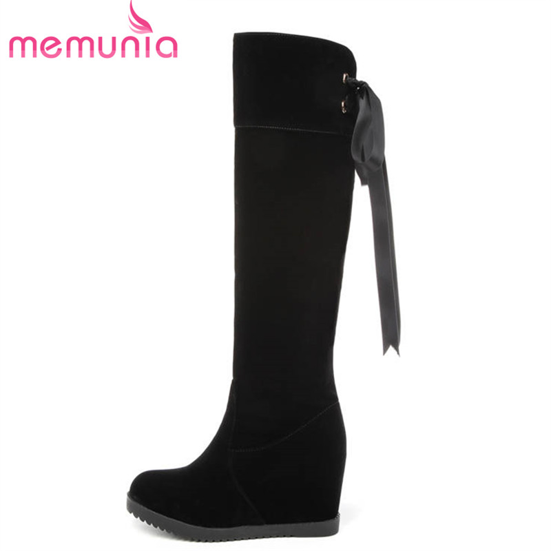 MEMUNIA 2018 big size 34-43 flock knee high boots women lace up solid colors autumn winter boots round toe fashion shoes woman memunia slip on womens boots in autumn winter high heels shoes woman knee high boots fashion sweet platform boots big size 34 45