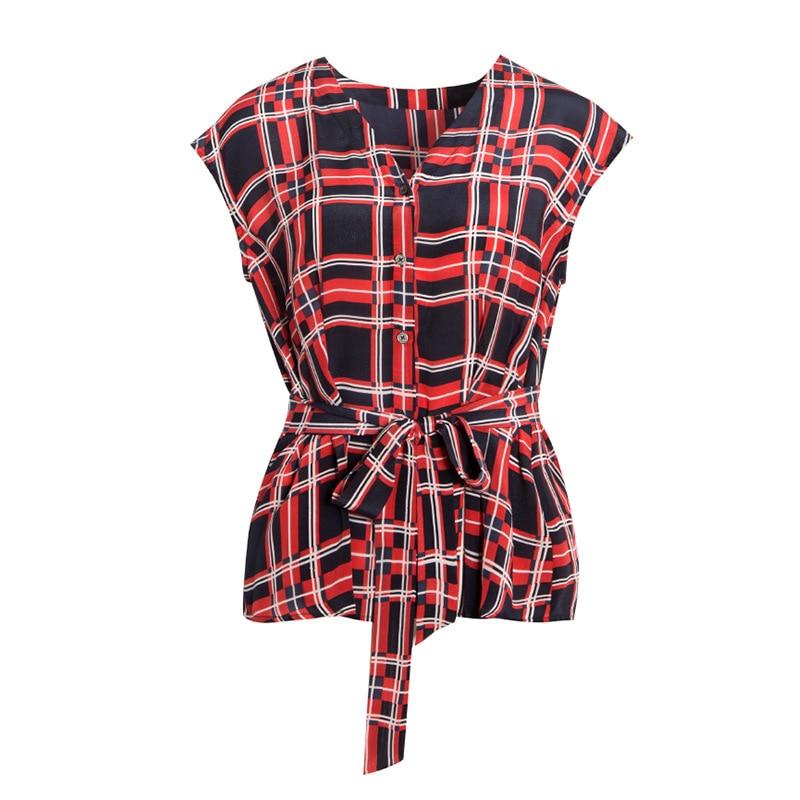 Noir plaid imprimé femmes blouse top ceinture taille rouge soie sans manches blouse soie mode sauvage chemise gilet 2019 été nouveau i79