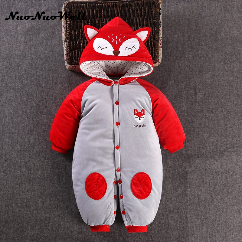 NNW Baby Winter Romper Thicker Cotton Newborn Baby Jumpsuit Boys Girls Romper Hooded Top Infant Overalls Fox Style Baby Jumpsuit puseky 2017 infant romper baby boys girls jumpsuit newborn bebe clothing hooded toddler baby clothes cute panda romper costumes