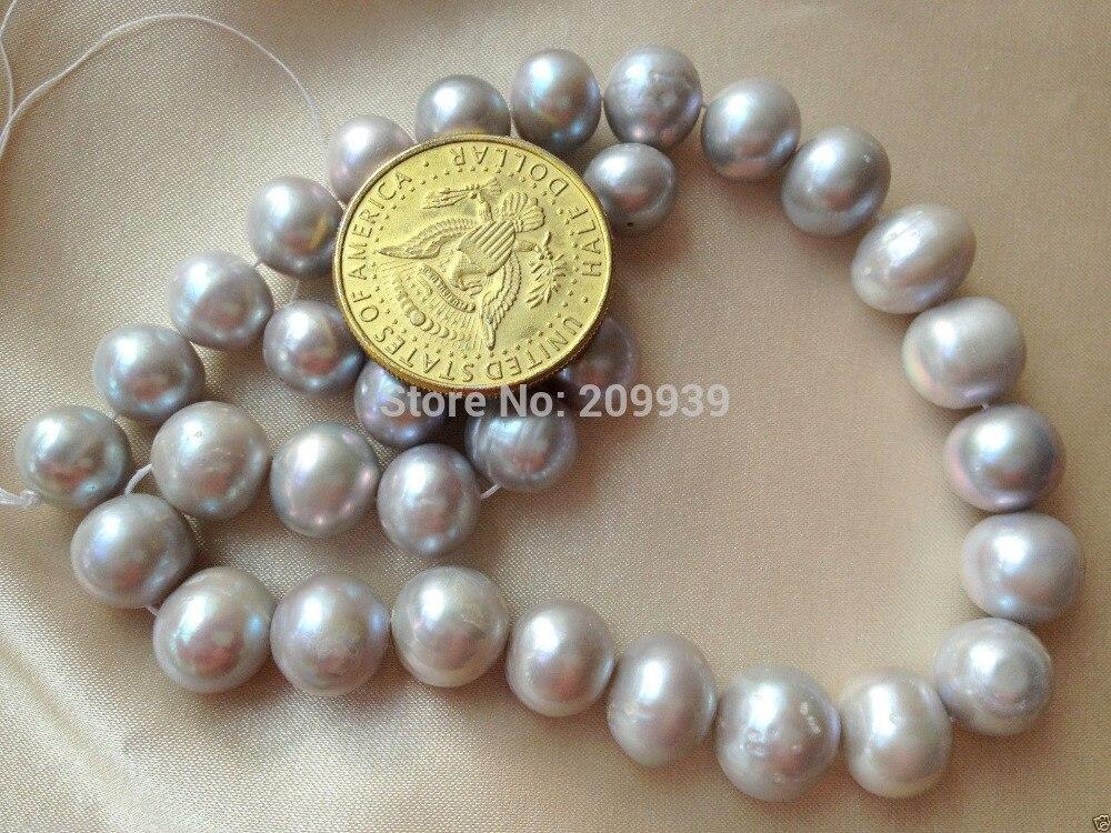 Vendita calda > @ @ N317 AA + 12 14mm Grigio Argento (Grigio) Off Round Coltivate Perle d'acqua dolce Branelli Allentati di trasporto libero di Alta qualità