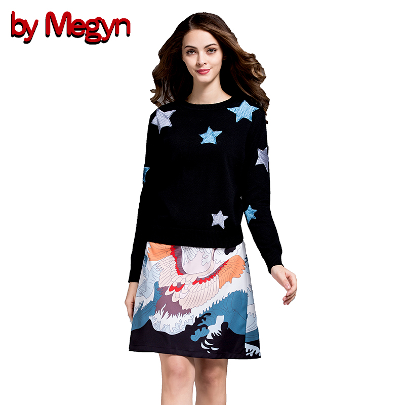 by Megyn 2 Piece Women Set Casual Suits Wool sweater Tops Floral Print Knee Length Skirt