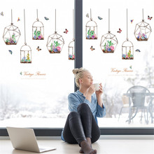 Succulents hanging basket bedroom living room removable decorative wall stickers Mobile Creative Window Decoration 2019