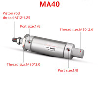 Freeshipping Stainless Steel Pneumatic cylinder with magnet MA40 bore 40mm stroke 25 500mm double acting Single Rod Air Cylinde