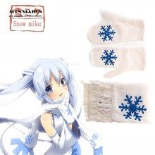 Envío Gratis Anime Vocaloid Miku Nieve Blanco Sombrero y Bufanda y Guantes Cosplay Accesorios