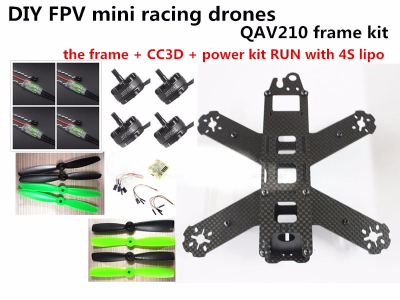 DIY mini drone QAV210 / ZMR210 FPV race quadcopter pure carbon frame kit CC3D + EMAX 2204II KV2300 motor + BL12A ESC RUN with 4S diy mini fpv 250 racing quadcopter carbon fiber frame run with 4s kit cc3d emax mt2204 ii 2300kv dragonfly 12a esc opto