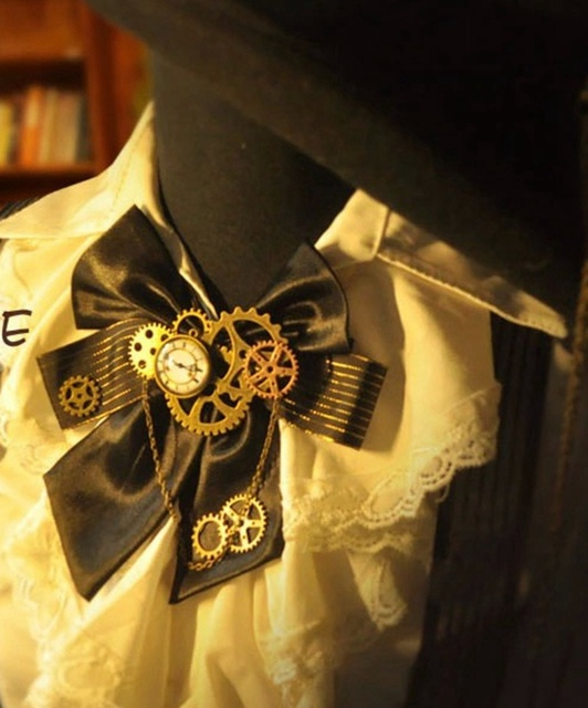 Стимпанк галстук бант с шестеренками 1