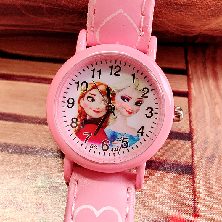 Cute Cartoon Belt Children Watch Aisha Two Sisters Girl Quartz Wrist Watch