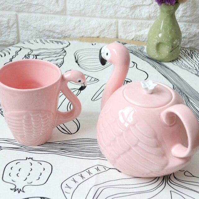 Flamingos Bird Teapot Cup Set 3d Animal Coffee Pot Mug Super Beauty