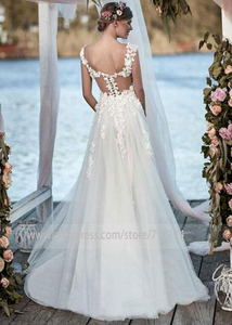 Image 4 - Junoesque Tulle V neck A line Wedding Dresses with Beaded Handmade Flowers Applique Illusion Back Bridal Dress vestido de novia
